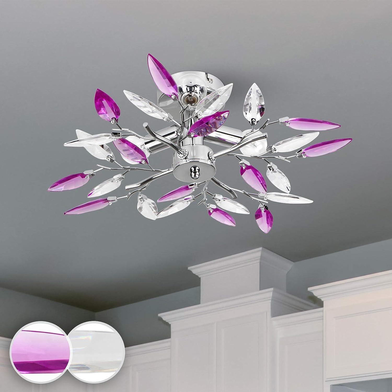 Lámpara de Techo - CEE: A++ a E, en Forma de Hojas, Ø45cm, 3xE14, Redondo, Moderna, Violet - Luz de Techo, Iluminación Interior - para Sala de Estar, Dormitorio, Cocina, Comedor, Pasillo