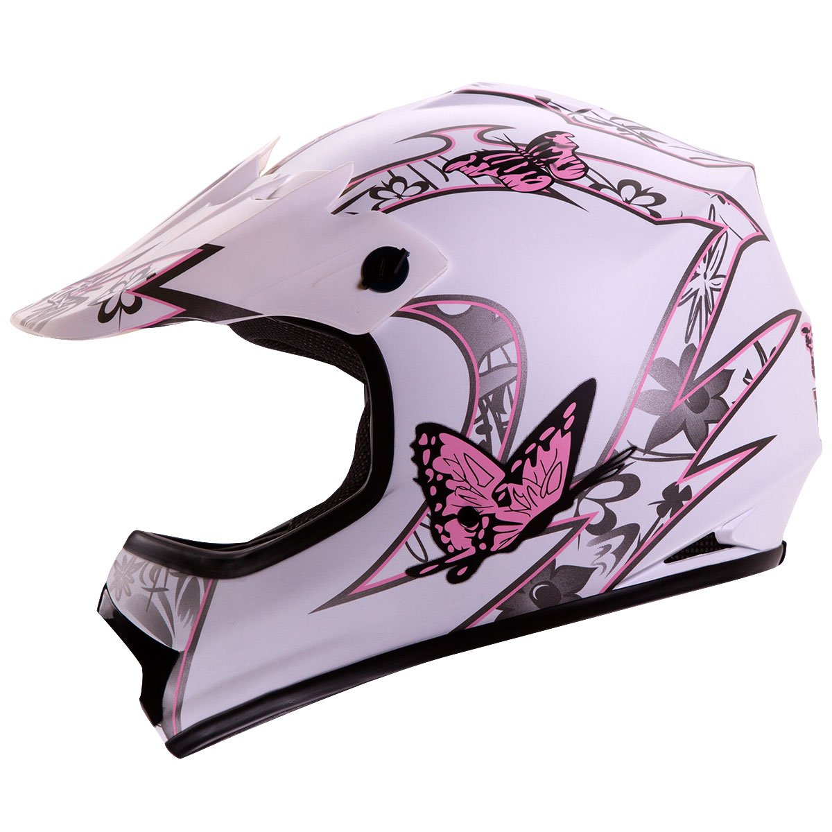 Iv2 Youth Kid Size White Pink Butterfly Motorsports
