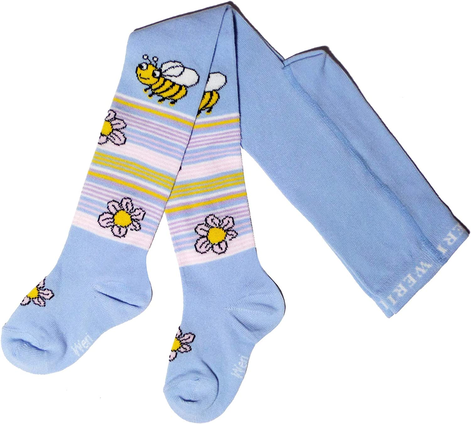 Weri Spezials Baby and Childrens Tights Bee with Flowers Light Blue