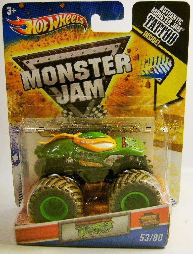 Hot Wheels Monster Jam, Teenage Mutant Ninja Turtles Michelangelo/Orange , Tattoo Series #53/80 1/64 Scale
