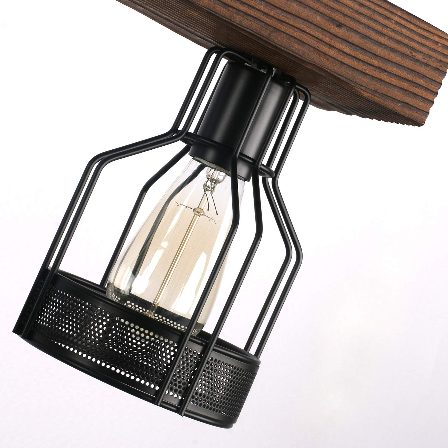 Unitary Brand Vintage Black Metal and Wood Body Cage Shade Kitchen Island Lighting with 4 E26 Bulb Sockets 240W Painted Finish by Unitary (Image #6)