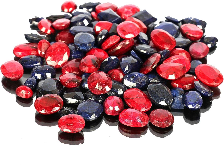 Piedras preciosas de zafiro azul natural rubí Lote 100 CT - 7 piezas de zafiro facetado, gemas sueltas de rubí para hacer joyas