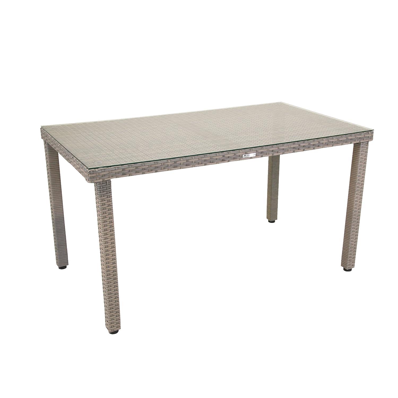Tisch Malana, Gartentisch mit Glasplatte, Balkontisch mit Höhenverstellbaren Füßen, witterungsBesteändiges Polyethylengeflecht, besonders pflegeleicht, ca. 140 x 80 x 74 cm, grau Bicolor