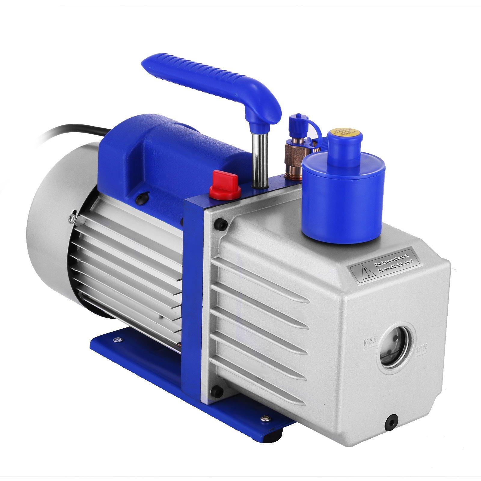 VEVOR Vacuum Pump 9CFM 1HP Two Stage HVAC Rotary Vane Vacuum Pump Wine Degassing Milking Medical Food Processing Air Conditioning Auto AC Refrigerant Vacuum Pump (2-Stage, 9CFM) by VEVOR (Image #4)