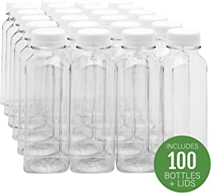 16-OZ Square Plastic Juice Bottles - Cold Pressed Clear Food Grade PET Bottles with Tamper Evident Safety Cap: Perfect for Juice Shops, Cafes and Catering Events - Disposable and Eco-Friendly - 100-CT