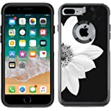 Protective Designer Vinyl Skin Decals for OtterBox Commuter iPhone 7 Plus / iPhone 8 Plus Case - Sunflower Black And White Design Pattern - Only SKINS and NOT Case - by [TeleSkins]