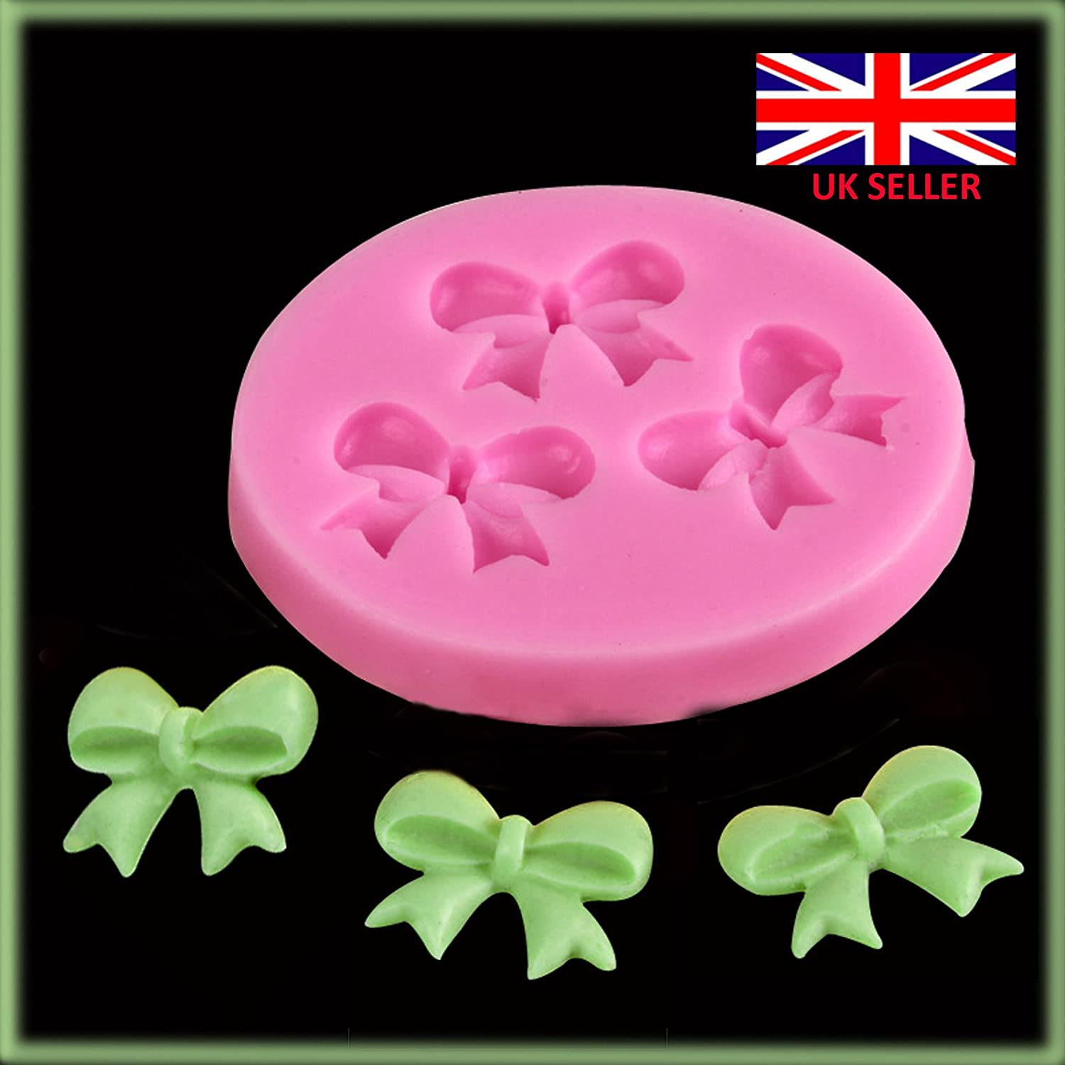 3 Cute Bow Ribbon flower Silicone Mould Fondant Icing Cake Cupcake Topper Mold Ice RiSai