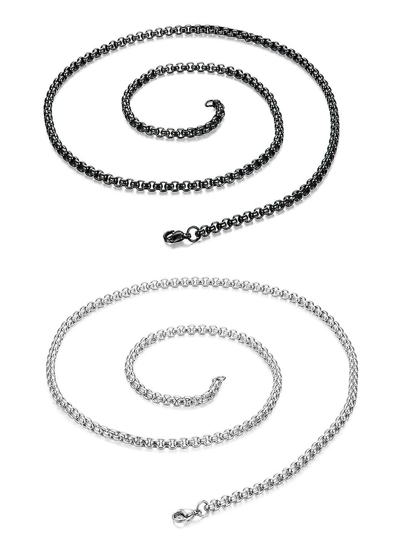 Sailimue cadena de collar de acero inoxidable de 2 piezas para hombres mujeres 85 cm