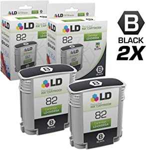 LD Remanufactured Ink Cartridge Replacement for HP 82 CH565A (Black, 2-Pack)