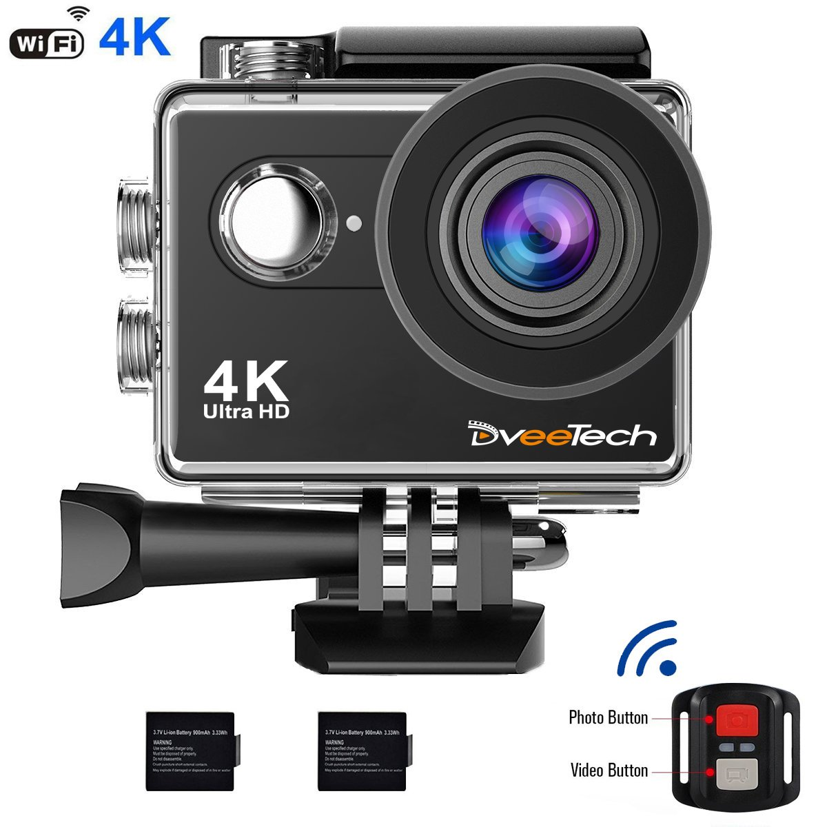 Dveetech 4k Action Camera Wifi Waterproof 30M Sport Camera 16Mp ultra hd 1080p Underwater DV Camcorder Action Cam with Remote 2 Batteries Bike Helmet Mounting Accessories Kit for Cycling Snorkeling