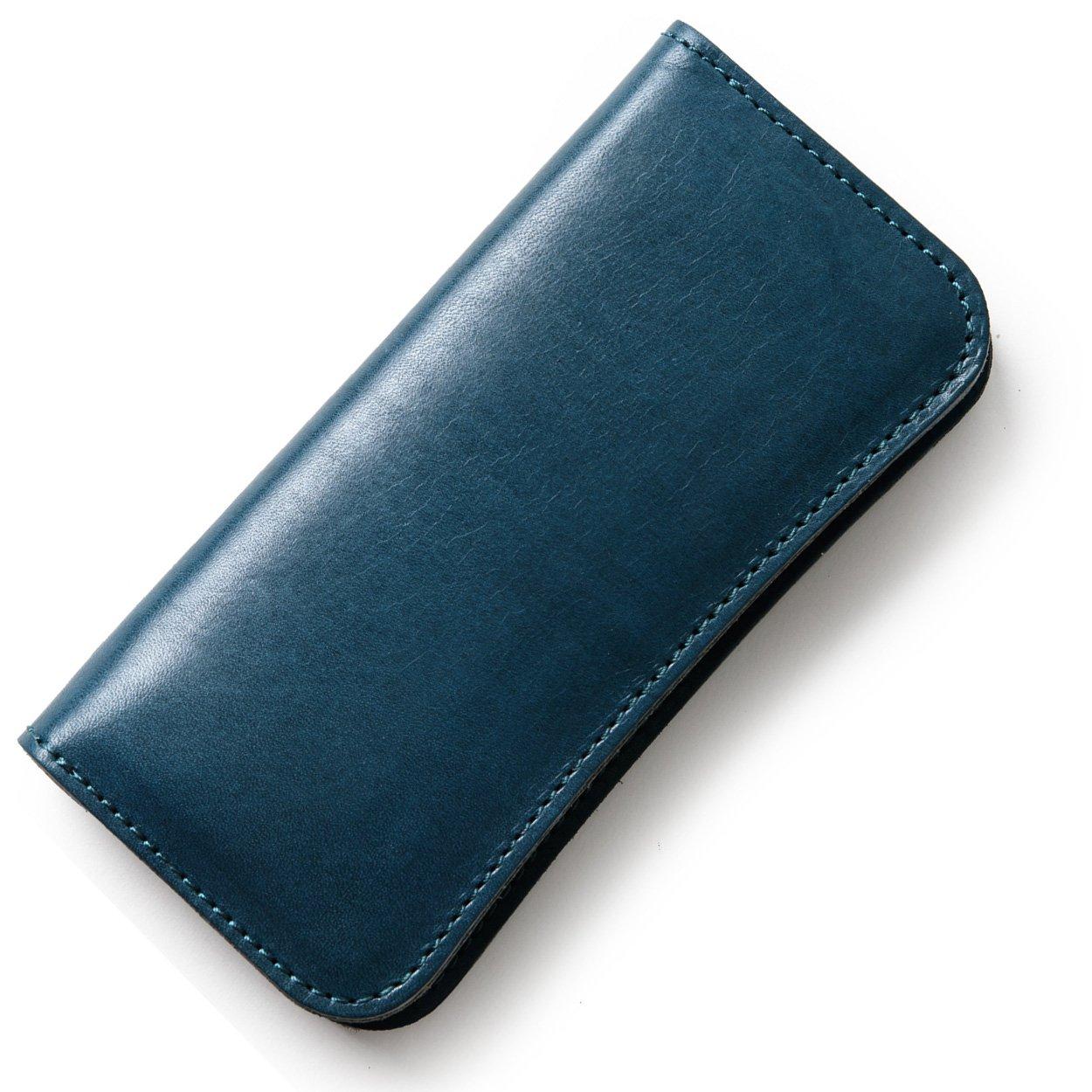 (東京下町工房)長財布 メンズ財布 本革 栃木レザー ヌメ革 日本製 全6色 B07BYD8HZC ブルー ブルー