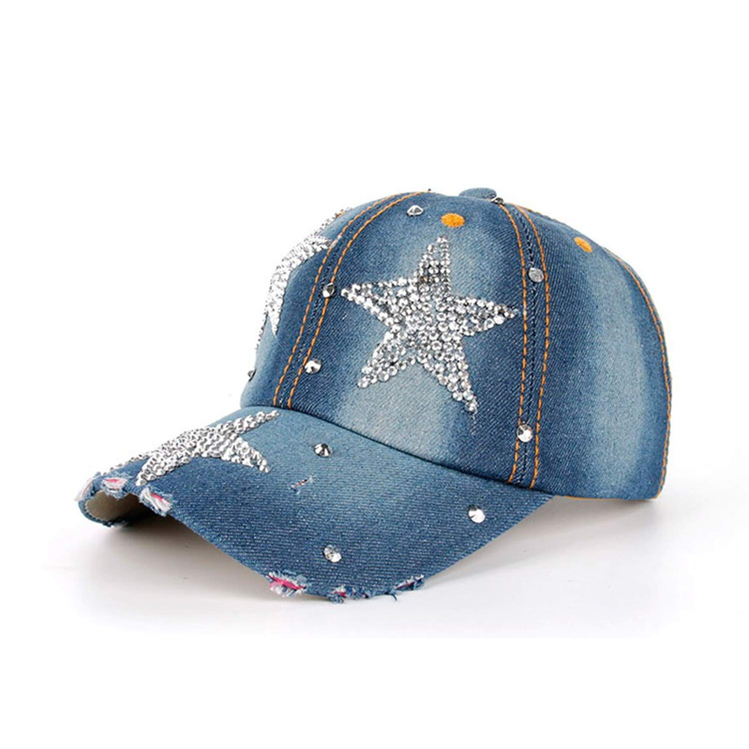 Mageed Anna Womens Baseball Rhinestone Drill Bling Hat Girl Handmade Crystal Cap Denim Visor Cap