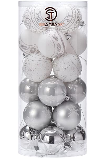 Christmas Tablescape Decor - Silver & White Glittering 24-Pc Christmas Tree Ornaments Set