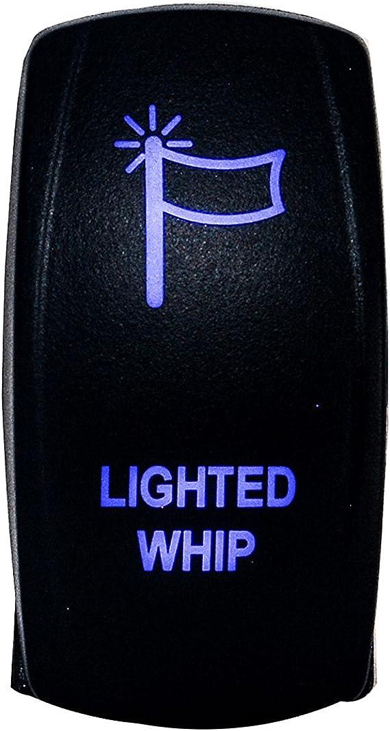 Switch Blue Laser Rocker Lighted Whip for UTV TRUCK POLARIS RZR XP 900 1000