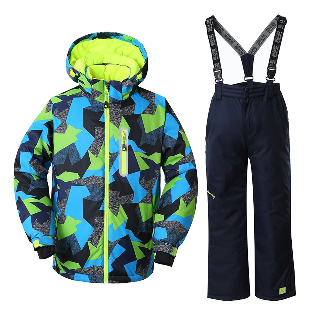 WOWULOVELY Boy's Ski Jacket + Pants Snow Insulated Suit Windproof & Waterproof,Multicolor,10