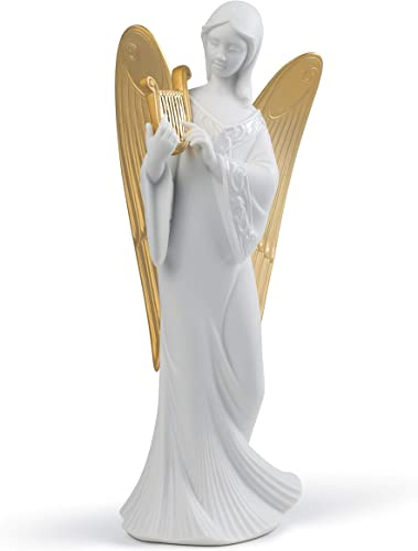 LLADR Celestial Melody Angel Christmas Ornament. Golden Lustre. Porcelain Tree Topper Christmas.