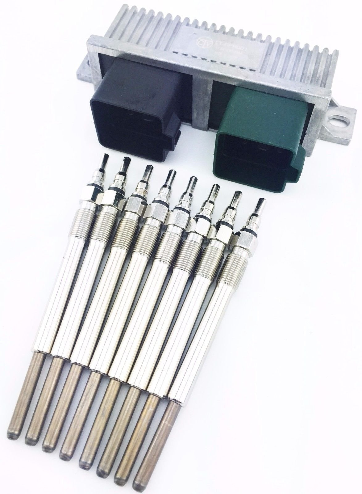 Aftermarket 02-03 FORD POWERSTROKE 7.3L 7.3 TURBO DIESEL 8 GLOW PLUGS & GPCM CONTROL MODULE by Aftermarket (Image #1)