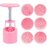 AMFOCUS Hand Press Moon Cake Mold Cookie Stamps Pastry Tool - 6 Flower Patterns