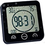 Digital Shower Clock with Timer Temperature Humidity Monitor Function, Waterproof Bathroom Clock for Water Spray…