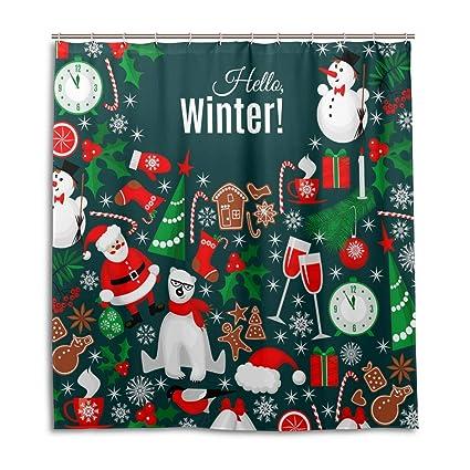 Christmas Waterproof Bathroom Fabric Shower Curtain Snowman Santa Decor 12Hooks
