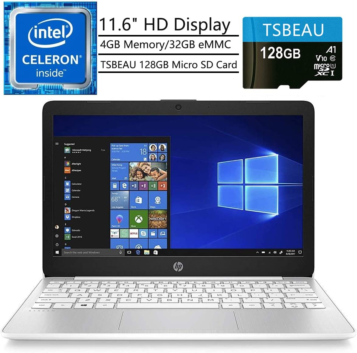 "HP Stream Laptop, 11.6"" HD Display, Intel Celeron N4000, 4 GB RAM, 32 GB eMMC, Windows 10 Home in S Mode, One Year of Microsoft 365, Bundled with TSBEAU 128 GB Micro SD Card"