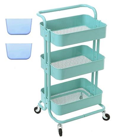 zytty 3 Tier carrito Metal Utilidad carrito con ruedas, estante con ruedas de almacenamiento organizador de ...