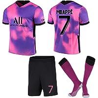 Conjunto de Camisetas de fútbol Paris Camiseta de fútbol Away # 7 Kylian Mbappé Conjunto de Camiseta Pantalón Corto y…
