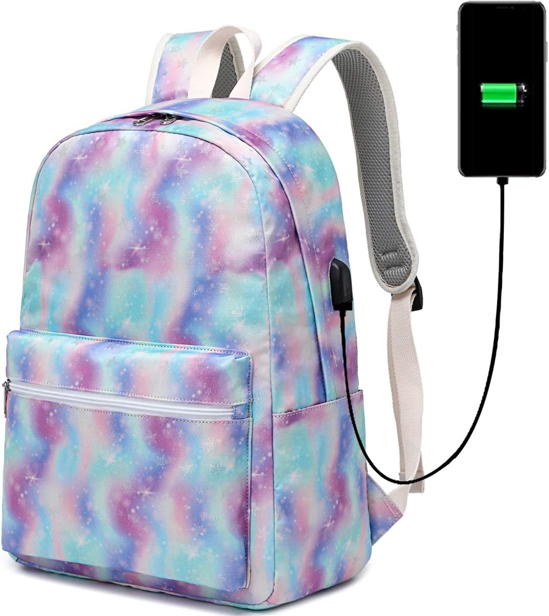 CAMTOP School Laptop Backpack Women Girls Bookbag Flower College Backpack with USB Port Water Resistant (T62-b Star-usb)