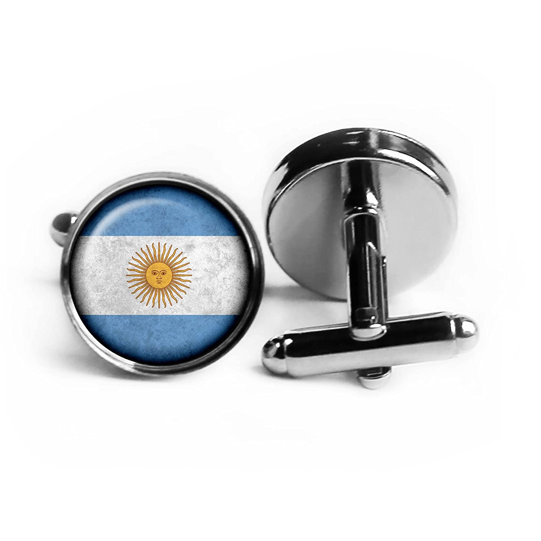 Argentina Argentinian Flag Rhodium Plated Silver Cufflinks