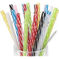 AMZSOCKETS 25 Pieces Reusable Plastic Straws
