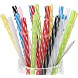 25 Pieces Reusable Plastic Straws. BPA-Free, 9 Inch Thick Drinking Transparent Straws Fit for Mason Jar, Yeti Tumbler, Cleaning Brush Included.
