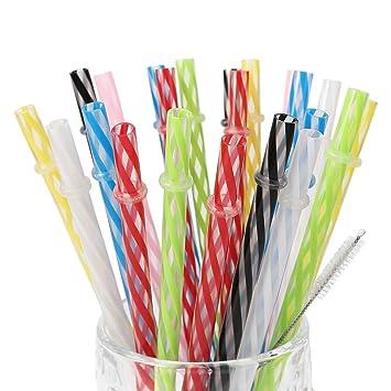 amazon com 25 pieces reusable plastic straws bpa free 9 inch long
