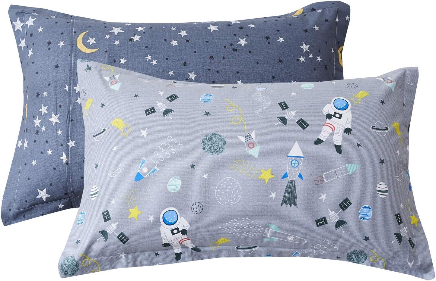 Brandream Kids Pillow Shams Set Of 2 Standard Size 100 Cotton Space Rockets Galaxy Planet Astronauts Pillow Covers Home Kitchen
