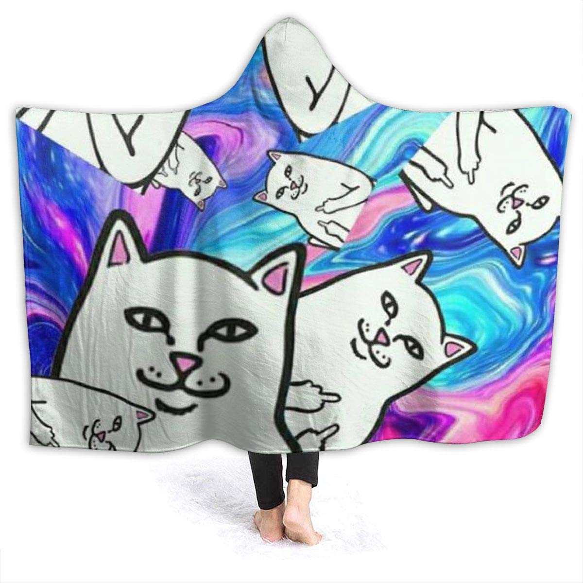 Lord Nermal Middle Finger Cat Many Oversized Hooded Blanket Flannel Super Soft Cape Wrap Wearable Cuddle Multi Size Optional by Criss