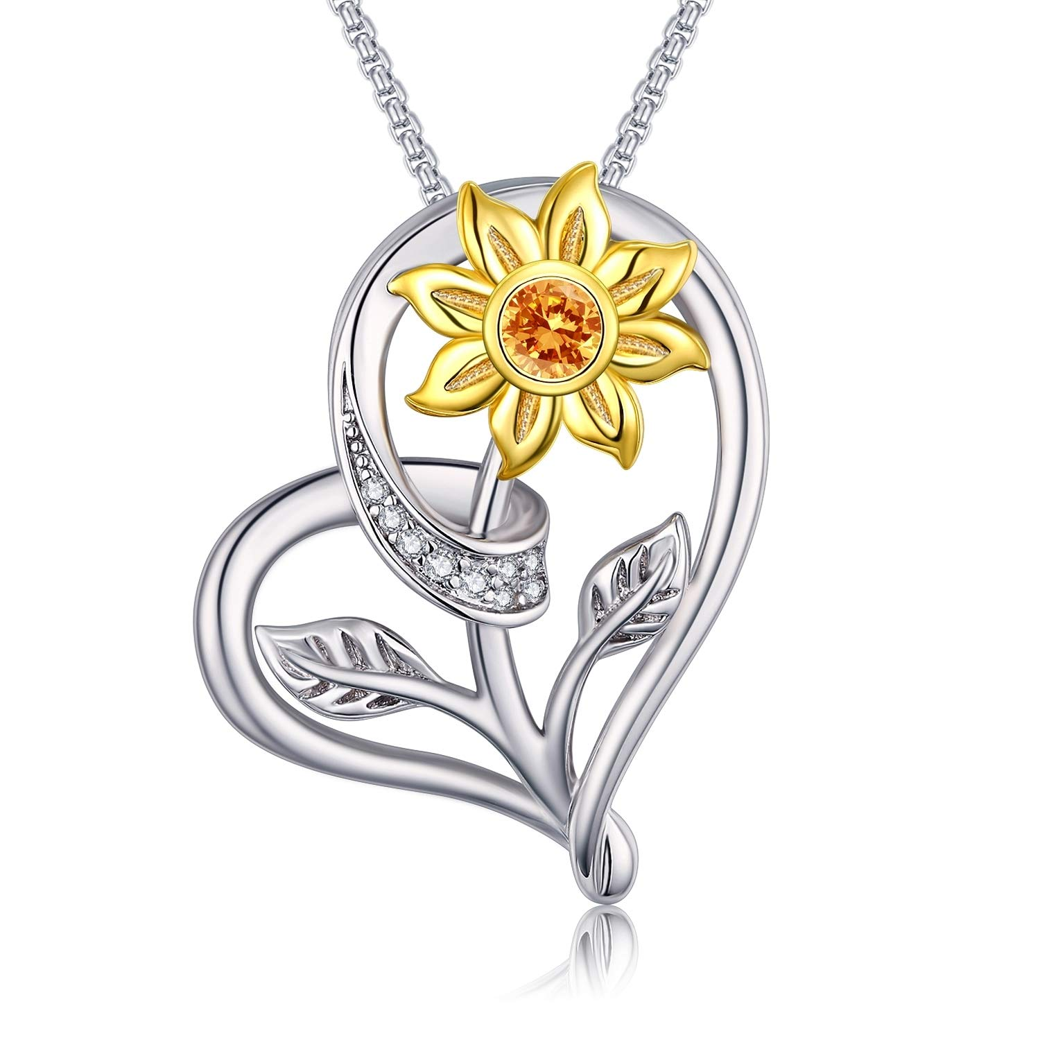 Klurent Sunflower Love Heart Pendant Necklace Jewelry My Sunshine Adjustable 18-20 Inches Blessings for Women Daughter Wife 925 Sterling Silver Jewelry Birthday