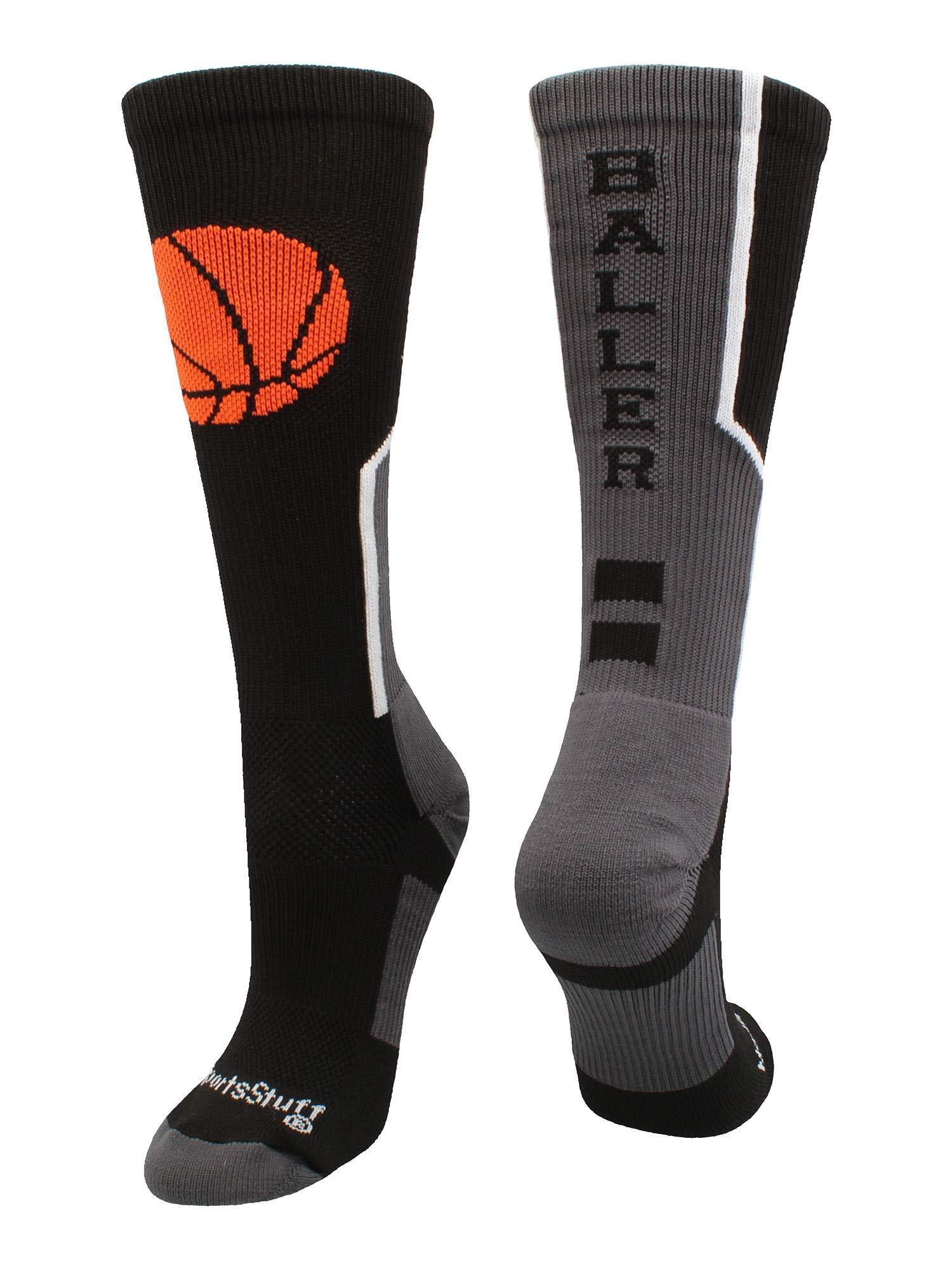 MadSportsStuff Baller Basketball Logo Crew Socks (Black/Orange, Small)