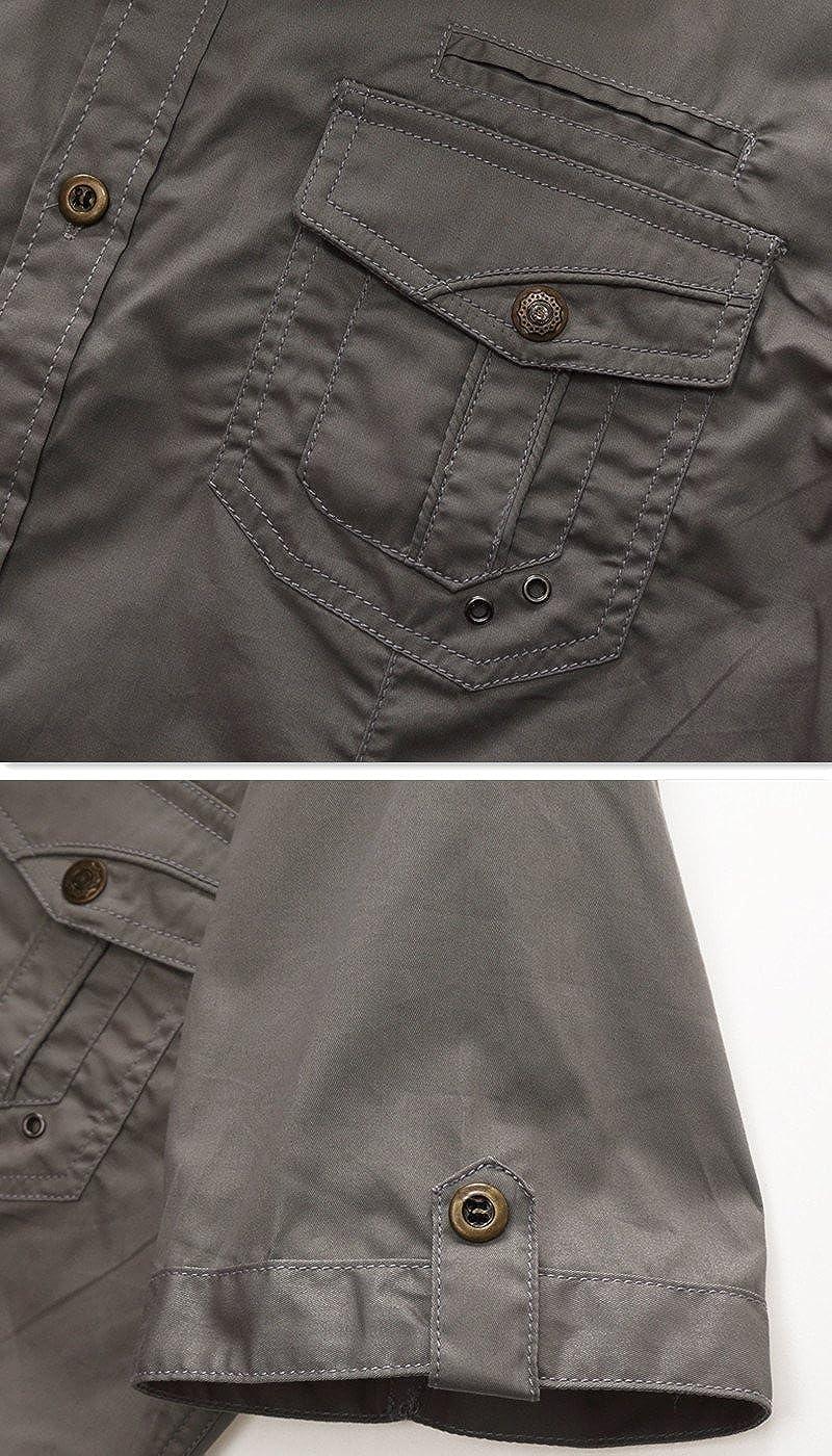Oushiny Mens Uniform Style Short Sleeve Shirt 3 Colors 5 Sizes