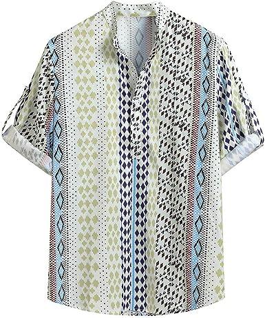 Amasells Blusa de Media Manga para Hombre, Cuello Redondo, Tallas M ~ 3XL Verde Verde XXL: Amazon.es: Ropa y accesorios