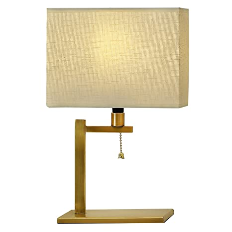 WAYKING Table Lamp, Burnished Brass Frame Bedside Lamp With Cream Artistic  Pattern Fabric Shade