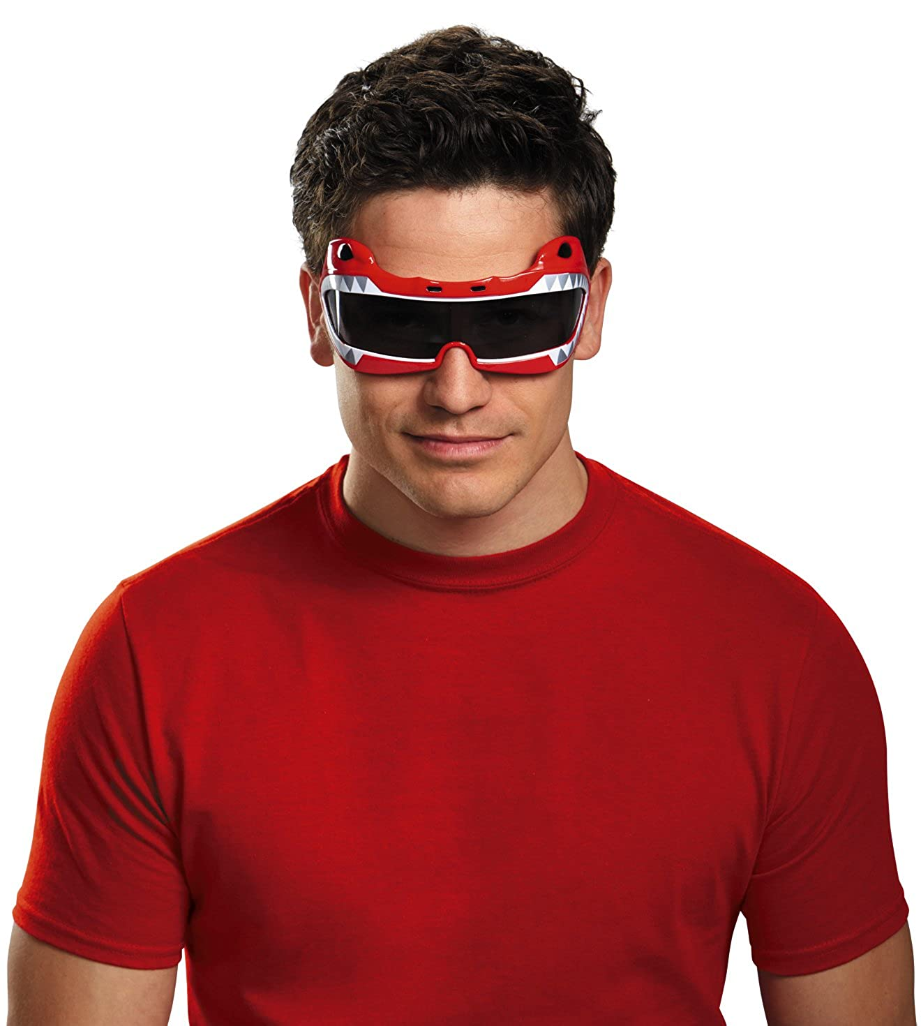 Disguise Men's Saban Mighty Morphin Red Ranger Costume Accessory Glasses One Size Disguise Costumes 72581