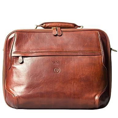 Maxwell-Scott PERSONALISIERT! Luxus Leder City Rucksack in Cognac Braun (Popolo) Maxwell Scott 0FxQt2j
