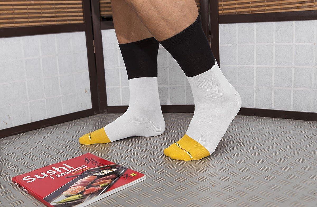 Certifi/é OEKO-TEX 1 paire de Sushi CHAUSSETTES en Coton: Tamago Nigiri Tailles UE: 36-40 fabriqu/é dans lUE CADEAU CR/ÉATIF pour Fammes et Hommes 41-46| Bonne qualit/é Sushi Socks Box