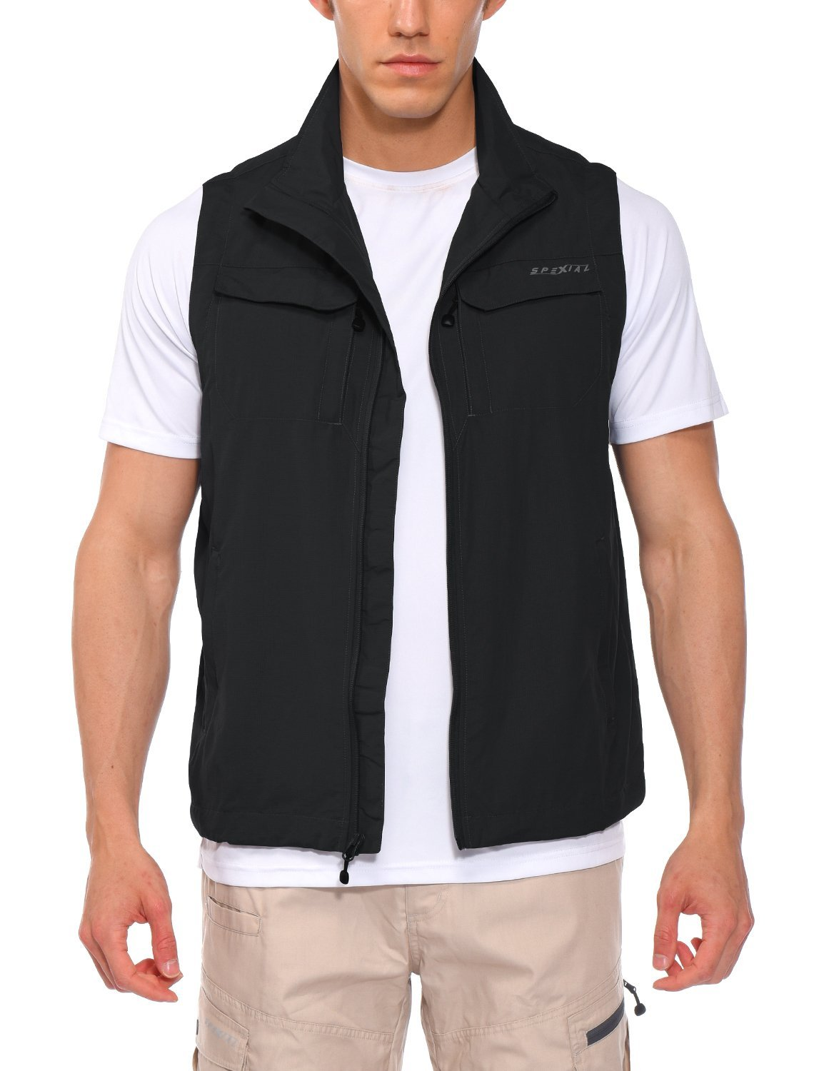 Spexial Men's Outdoor Vest Travel Hunting Nylon Pockets Gilet Black Size S