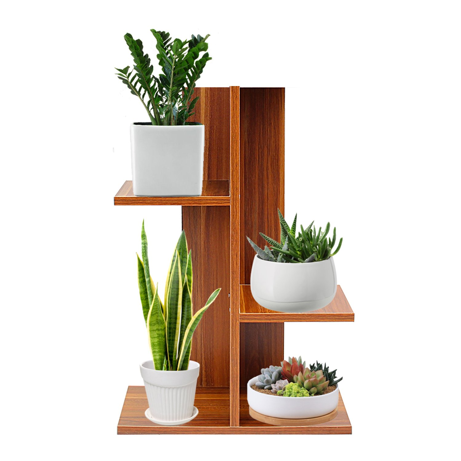 Jerry & Maggie - 4 Tier Bookcase Rustic Bookshelf Plants Flowers Shelf Display Storage Wood Closet Organizer Multi Units Deluxe Free Stand Shelving Shelves Rack Curve Cabinet - Dark Natural Wood Tone by Jerry & Maggie