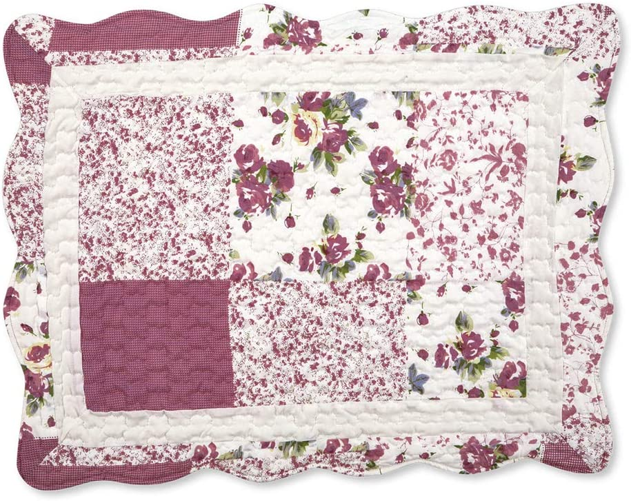 Collections Etc Hadley Floral Patchwork Quilted Pillow Sham, Burgundy, Sham