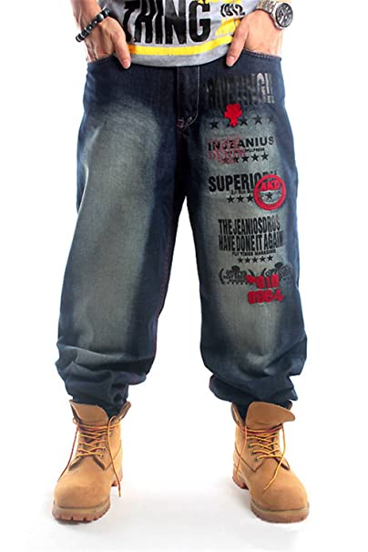 Amazon.com: qbo Hombres S Cool Hip Hop Washed Baggy Jeans ...