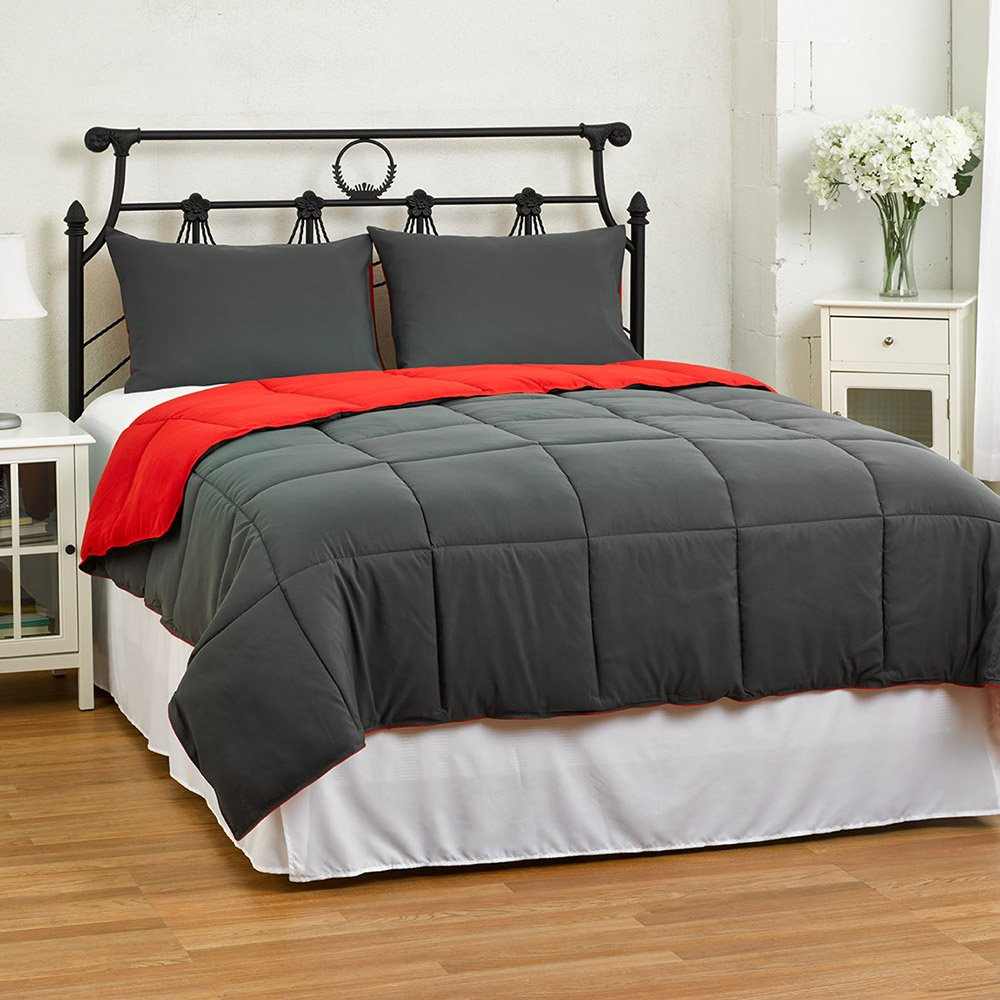 Reversible Comforter 2-Piece Set - Down Alternative Medium Weight by ExceptionalSheets, Twin/Twin XL, Red/Charcoal