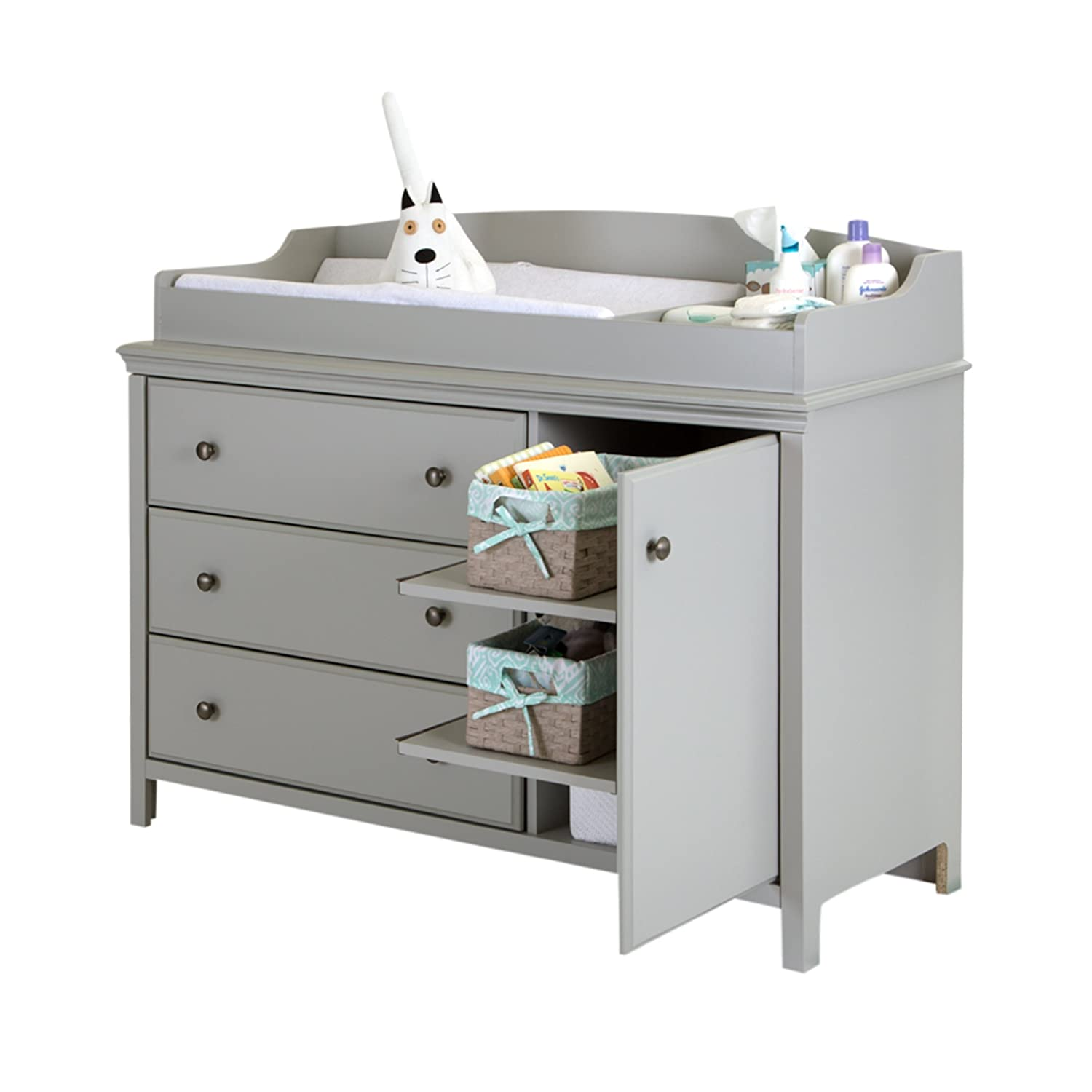 Amazon.com : South Shore Cotton Candy Changing Table With Removable Changing  Station, Soft Gray : Baby