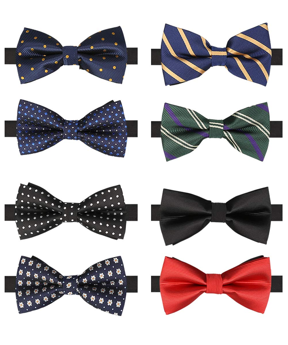 BASH 8 PACKS Elegant Adjustable Pre-tied bow ties for Men Boys in Different Colors (B) by BASH