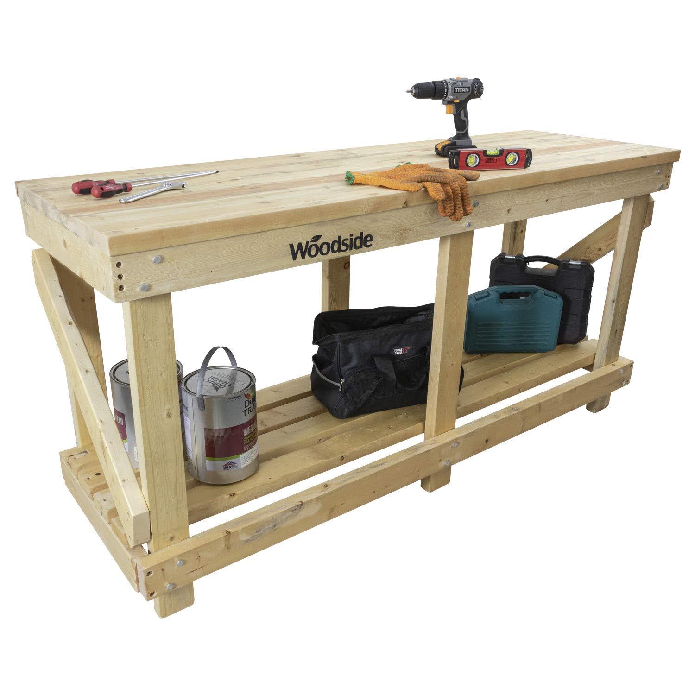 Woodside Heavy Duty 1.8m Industrial Wooden Work Bench Table Station